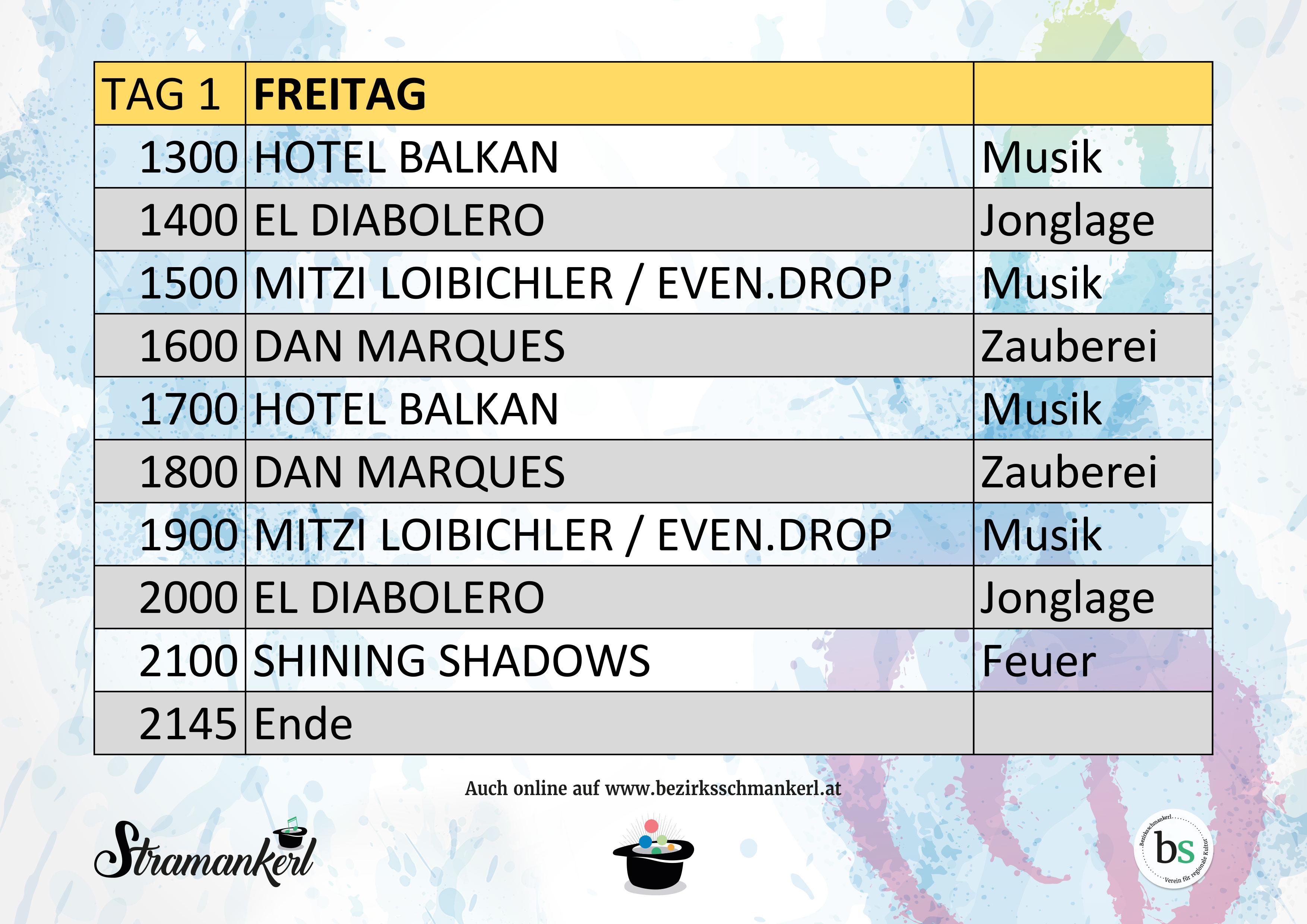 Stramankerl 2019 Timetable